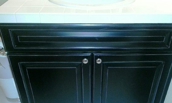 black kitchen vanity after refinishing